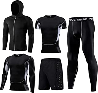 Men's Fitness Clothing Fitness Clothing Gym Outdoor Running Compression Pants Shirt Tops Long Sleeve Jacket 5 Pieces
