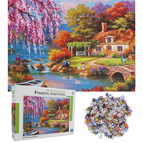 500 Pezzi Jigsaw Puzzle Vernice Bella Campagna Modello Gioco Assemblaggio Genitore-Figlio Interattivo Educativo Giocattolo Regalo Compleanno di Natale per Bambini Bambino Adulti Ragazze Ragazzi(#1)