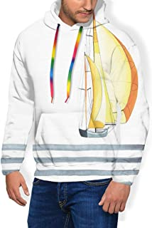 GULTMEE Men's Hoodies Sweatershirt, Sailing Theme Striped Sea Waves and Boat Water Sports Yacht Maritime,5 Size