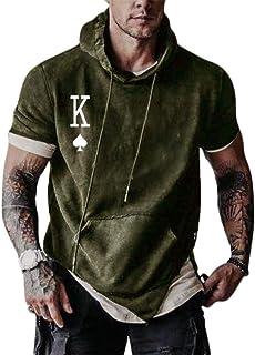 Onsoyours Camiseta de Manga Corta con Capucha para Hombre Slim Fit Casual Tops Camisa Deporte Color Sólido T-Shirt Verano ...