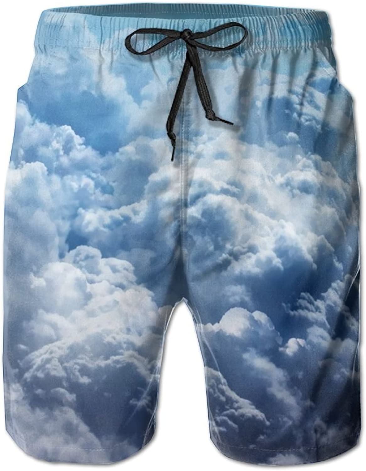 8aa4405d4b Quick Dry Men's Beach Board Shorts Clouds Clouds Clouds Surfing Swim Trunks  Beachwear With Pockets a0a92f