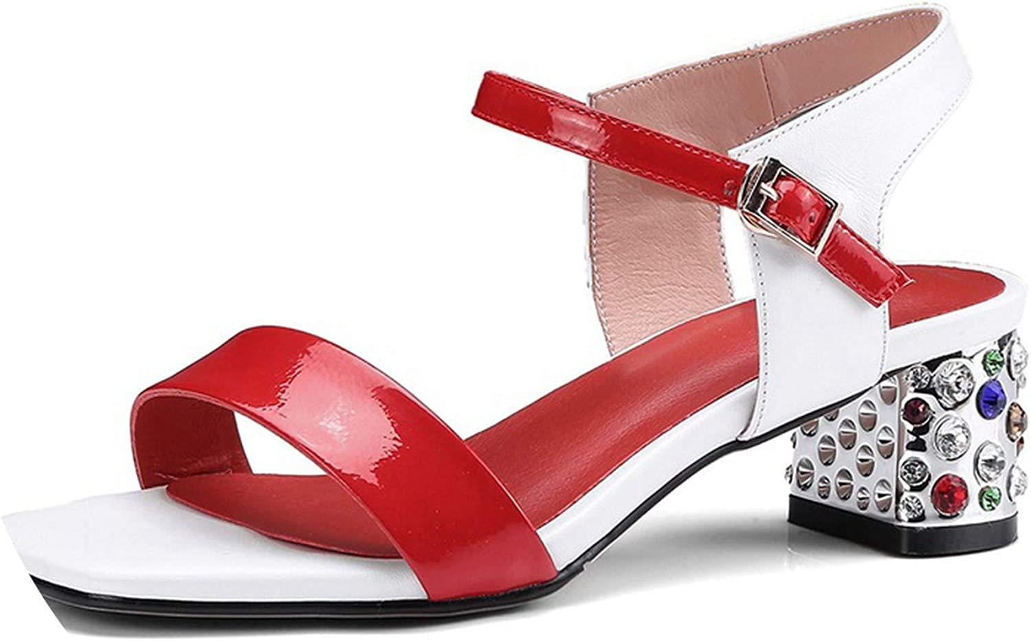 SANDIP MIKEY Summer Genuine Leather Women Sandals Rhitone Middle Heel Open Toe shoes Casual Date Party Woman shoes