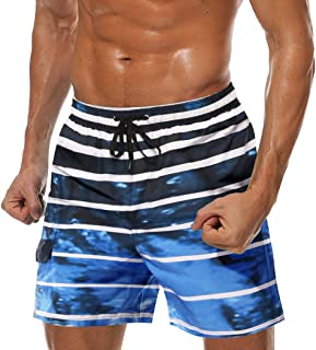 "COOFANDY Men's 7"""" Quick Dry Swim Trunks Mesh Liner Bathing Suits Boardshorts with Pockets Striped Swimwear Shorts"