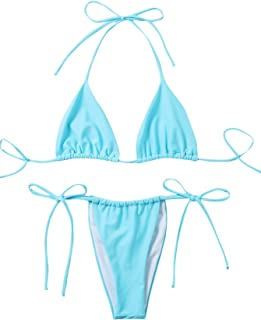 SOLY HUX Women's Halter Triangle Top and Tie Side Bikini Set Swimsuits Pure Blue L