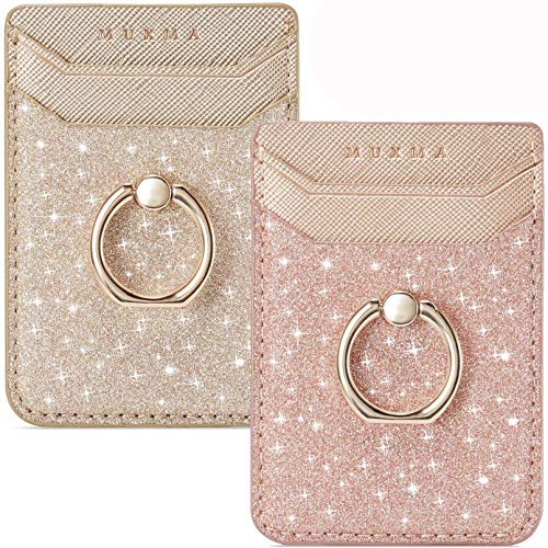 Phone Card Holder RFID Wallet Credit Adhesive Cell Case Stick-on Card Holder for Back of Phone for Most of Smartphones (Rosegold)