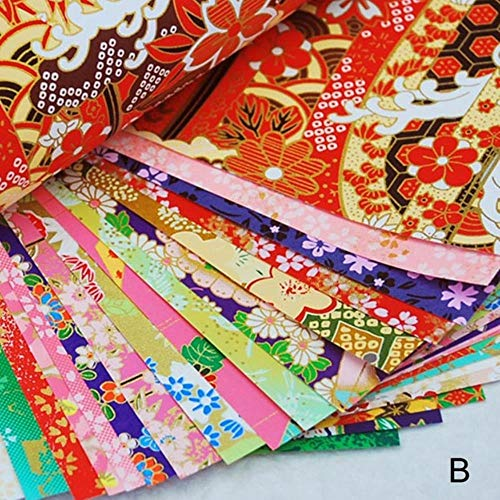 Zent Papel de origami pintado, diseño de flores bronceadoras, cuadradas, líneas doradas, para manualidades, álbumes de recortes