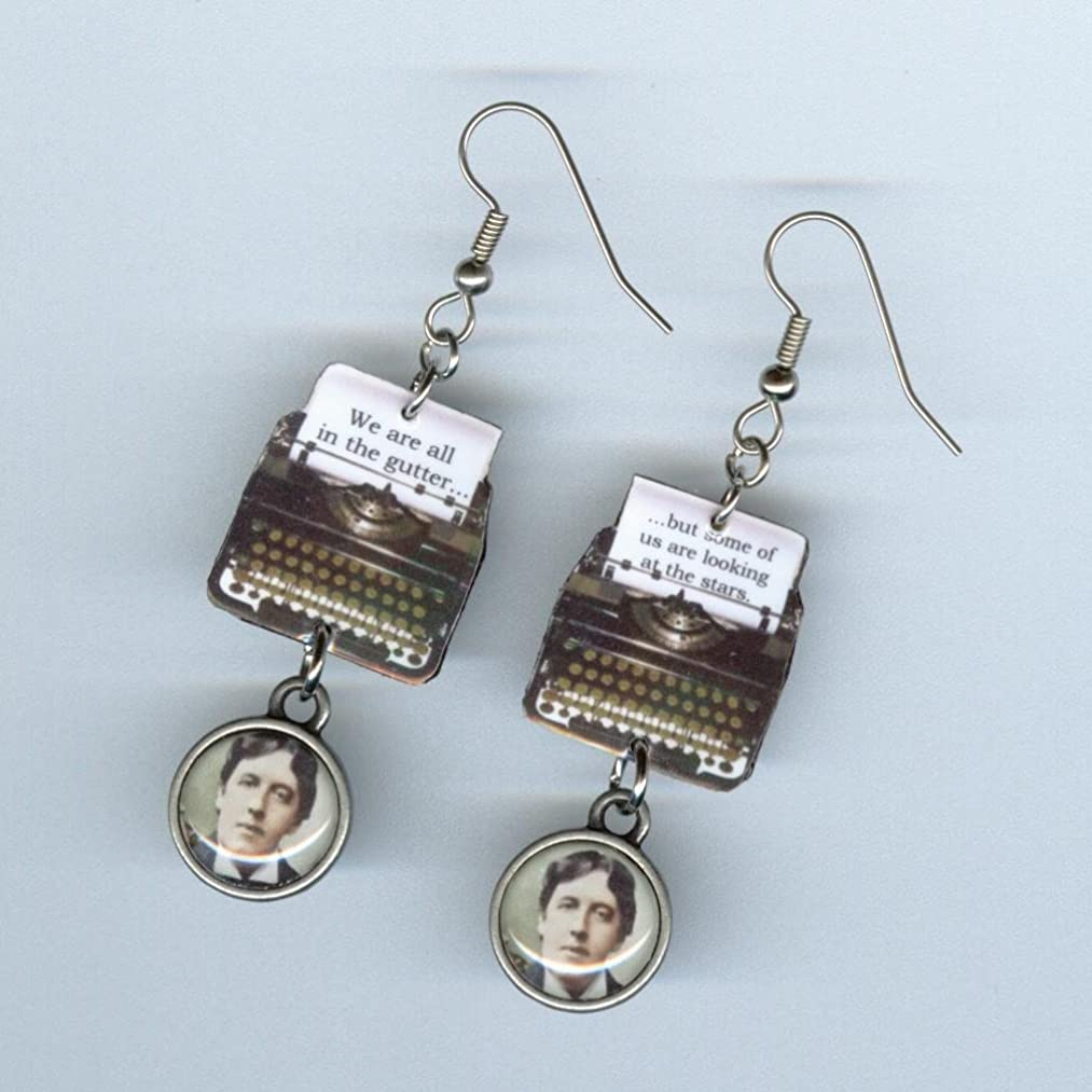 Typewriter earrings Oscar Wilde Quote jewelry Literary gift Teacher graduation