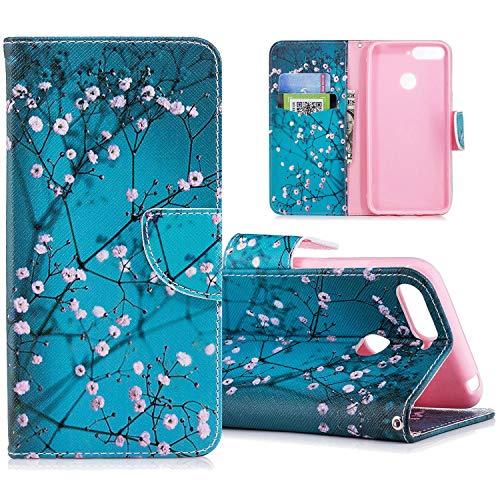 HMTECH Huawei P Smart 2018 Hülle,Huawei P Smart Hülle Handyhülle Leder Blaue Aprikosenblume Flip Hülle PU Leder Magnet Schutzhülle Tasche Ständer Handytasche für Huawei P Smart 2018,BF Blue Apricot