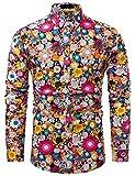 fohemr Funky Chemise Homme coloré Fleur imprimé Casual Manches Longues Hawaïenne Shirt Noir Small