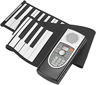 Hand-roll Piano 61 Key Electronic Piano Keyboard Foldable Portable Musical Instruments (Color : Black)