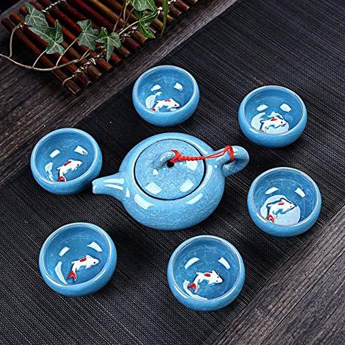 Colorful Ice Crack Glaze Porcelain Tea Set - Chinese Kung Fu Tea Service Utensil with Multi Color 6 Tea Cups(1.7Oz) and Teapot(6.8Oz) White-Blue
