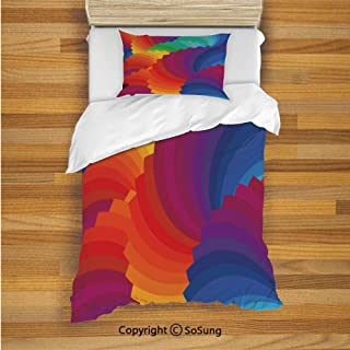 Colorful Home Decor Kids Duvet Cover Set Twin Size, Gradient Dash Sea Shell Inspired Wavy Dimension Palette Stripes Artisan 2 Piece Bedding Set with 1 Pillow Sham,Multi