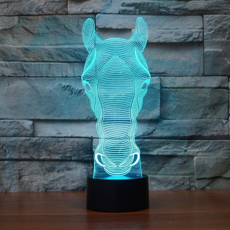 三十きゅうりチャーム3Dイリュージョンは、アートの彫刻装飾的なデスクランプ子供の子供の誕生日プレゼントギフトUSB充電を変更する馬のランプタッチセンサー7色のLED