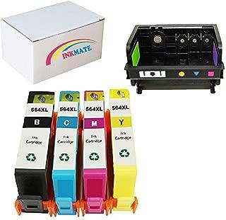 INKMATE 1 Pack 4 Slot Printer Head for 564 564 Printhead B110a B210a B109a C410a and 4 Pack (BK C M Y) 564XL High Yield Ink Cartridge