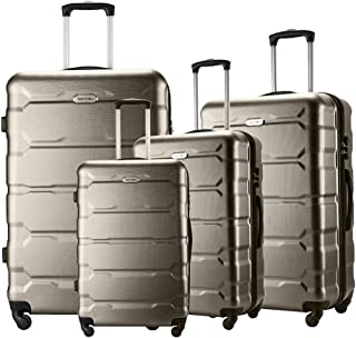 "Seanshow Luggage Sets 4 PCS Spinner Lightweight Suitacase Set with TSA Lock 18"" 22"" 26"" 30"" Brown"