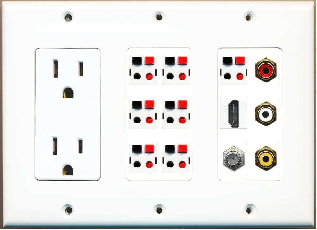 Indianapolis Mall RiteAV 3 Gang 15A Power Outlet Branded goods Video Composite HDMI Coax 7 Spea