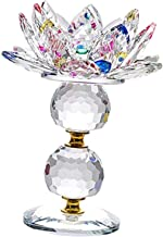 """Fenteer Crystal Lotus Flower Candle Holder 4.72"""" Dia Clear Candle Stand Home Dining Room Party Decoration Ornament - Colorful"""