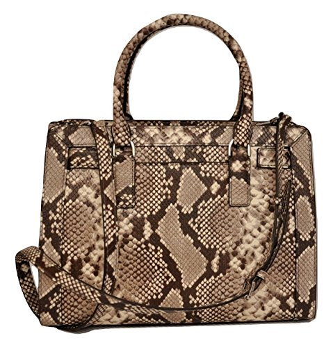 """9.5""""H x 12.5""""W x 4.5""""D Material: Python embossed leather Rolled top handles with rings; 4"""" drop. Removable, adjustable shoulder strap. Open top for easy, on-the-go access. Hanging circle logo tag. Logo plate at top center. Center zip compartment divi..."""
