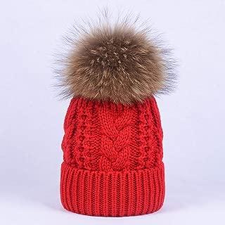 KFEK Hair Ball Wool hat Hemp Pattern Double Thick Warm Thread Knitted hat Female