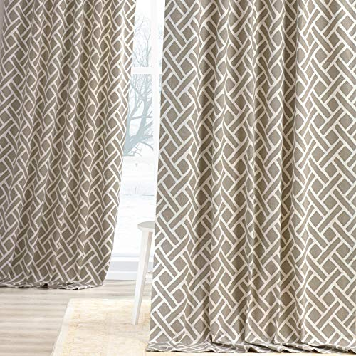 HPD Half Price Drapes PRCT-D07-96 Printed Cotton Curtain (1 Panel), 50 X 96, Taupe
