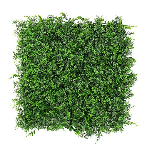ULAND Artificial Topiary Hedges Panels, Plastic Faux Bushes Shrubs Grass Wall Backdrop, Greenery Privacy Screen Fence, Pack of 6pcs 20