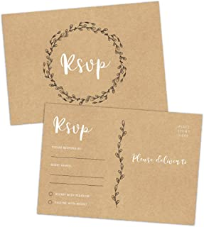 50 RSVP Postcards, Rustic RSVP Cards, Response Return Cards, Perfect for Wedding, Rehearsal Dinner, Baby Shower, Bridal Shower, Birthday Party