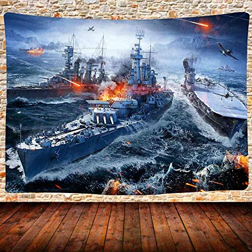 Battleship Tapestry Decisive Battle Midway Island Naval Battle Tapestry Wall Hanging Military Theme Game Wall Tapestry Bedroom Dormitory Living Room Decor 59 Inch X 51 Inch
