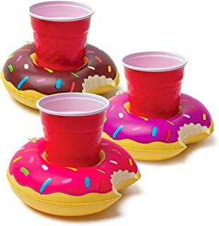 HansGo Inflatable Drink Holder, 12 PCS Donuts Floating Coasters 3 Color Doughnut for Pool Party Water Fun