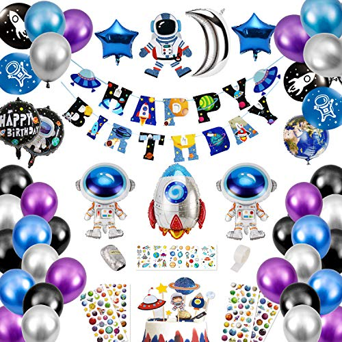 Qpout Outer Space Party Supplies - Solar System Birthday Party - Galaxy Theme To the Moon Party Blast Off Party Astronaut Universe Party- Happy Birthday Banner Balloons, Cake Topper, Tattoos,Stickers