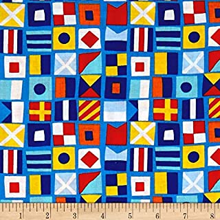Santee Print Works Clear Sailing Anchors Allover Blue Multi Fabric by the Yard