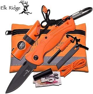 Elk Ridge Folding Knife with Survival kit - Orange