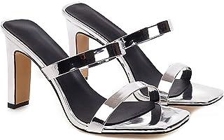 Dames open teen sandalen met dubbele riem en stevige hoge hakken Pumps slip-on jurk muiltjes dia's