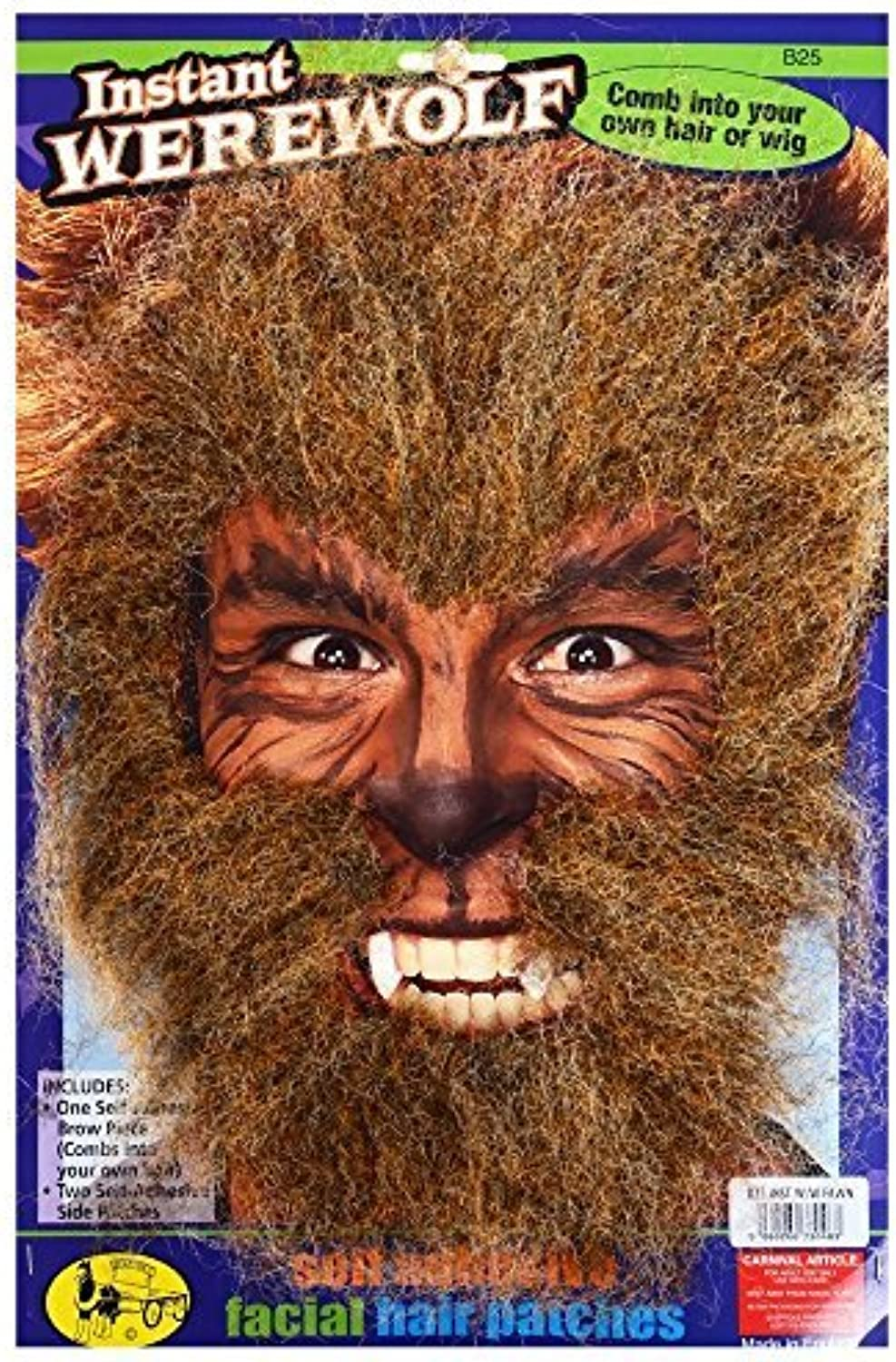 Instant werewolf fake hair patches  mottled brown, combs into your own hair or wig by Steptoes