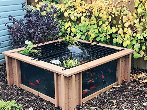 Clear View Garden Aquarium Lotus Gartenteich, quadratisch mit Fenstern