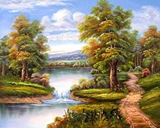 5D diamond painting kit for adults and children-River and road_30x40cm