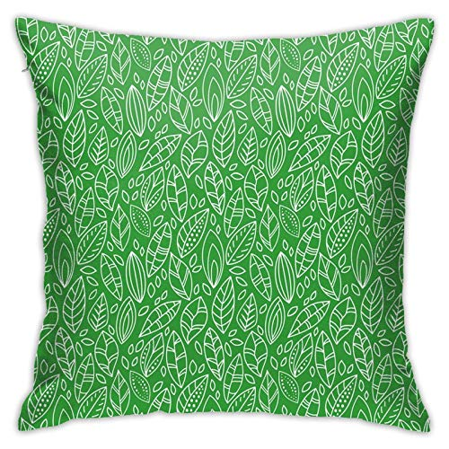 DHNKW Kissenbezug Kissenbezug ,Doodle Style Leaves In Different Shapes Abstract Fresh Garden Botanical Foliage ,18 x 18 Zoll