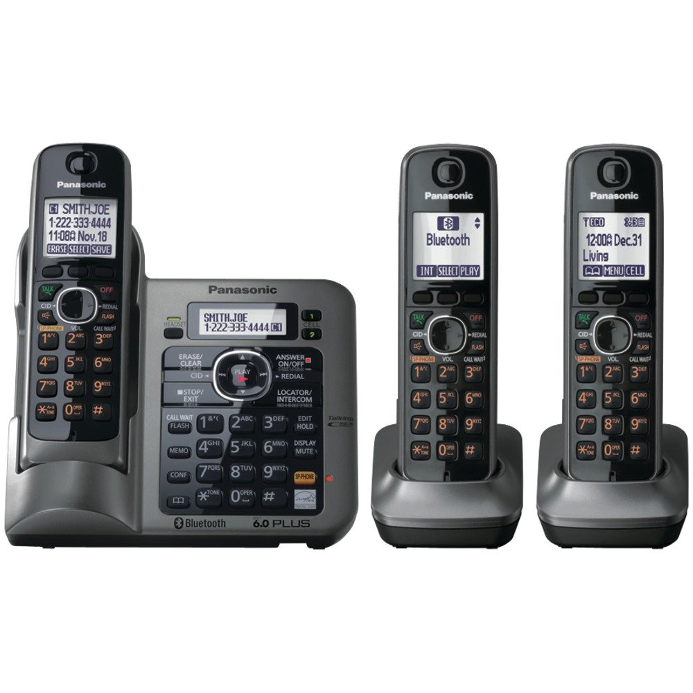 Amazon Com Panasonic Kx Tg7643m Dect 6 0 Link To Cell Bluetooth Cordless Phone With 3 Handsets Cordless Telephones Office Products
