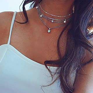 YBSHIN Boho Choker Necklaces Silver Star Pendant Necklaces Opal Layered Chain Jewelry for Women and Girls