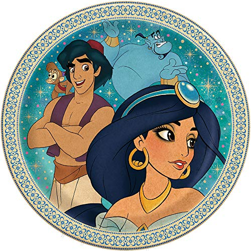 Unique Disney Aladdin piatti rotondi – 8 pezzi, blu/marrone, '9''