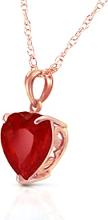 14k Solid White, Yellow, Rose Gold Necklace with Heart Shaped 10 mm 4.3 Carat Natural Red Ruby 5662
