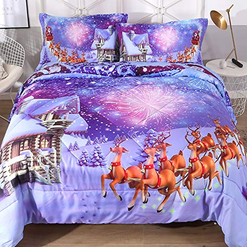 ENJOHOS Merry Christmas Bedding Set 3D Santa Claus in Sleigh with Reindeer Toys and New Year Fireworks in Snowy Winter Decorative 3 Piece Purple Blue Comforter Set for Kids and Children, Twin Size