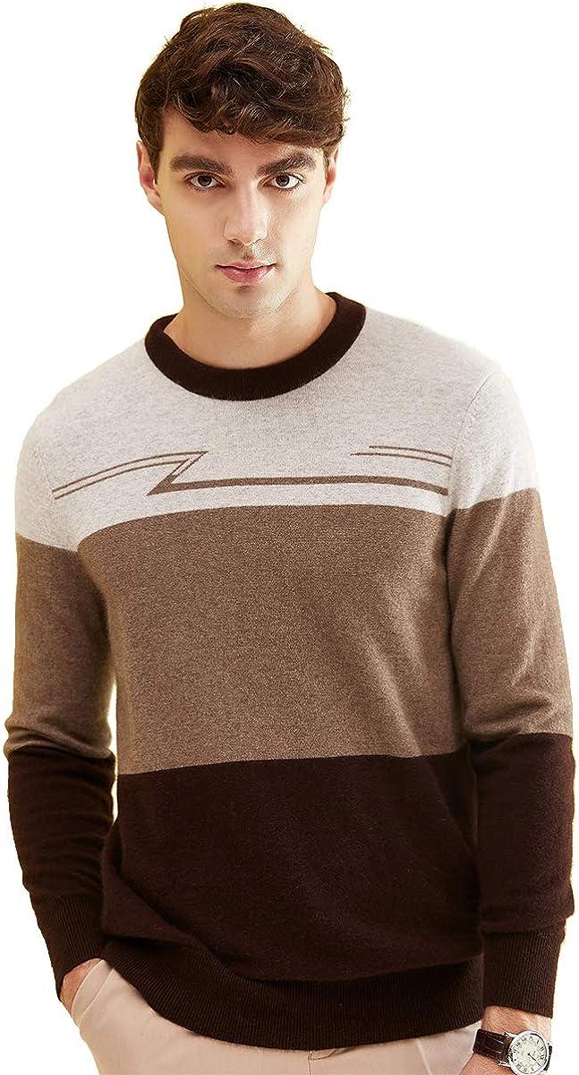 zhili Men's O-Neck Casual Pullover Cashmere Sweater