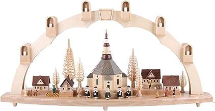 Richard Glässer Seiffen German Candle Arch Village of Seiffen, Length 80 cm / 32 inch, Natural, electrically Illuminated, ...