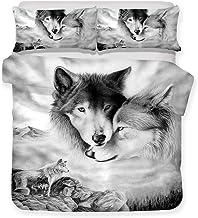 Ropa de cama individual 180x220 3D Animal Lobo sol Lobo Pareja de lobo Nieve Lobo Cabeza de lobo Funda nórdica y funda de almohada Poliéster superfino Suave y transpirable Prevenir Alérgico