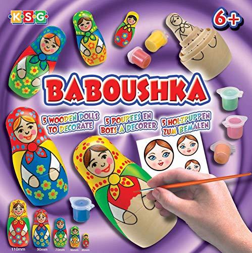 MAMMUT 8170925 - Crafts Bastelset, Matroschka, Komplettset mit 5 Matroschkas aus Holz, 6 Acrylfarben, Lack, Pinsel, Aufkleber für Gesichter und Anleitung, für Kinder ab 6 Jahre