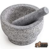 Gorilla Grip Original Organic Mortar and Pestle, Small Size, Holds 1.5 Cups, Slip Resistant Bottom, Large Heavy Duty Unpolished Granite, Guacamole Molcajete Bowl, Kitchen Spices, Herbs, Pesto Grinder