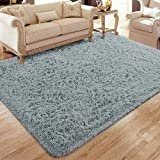Flagover Soft Fluffy Modern Living Room Area Rugs Shaggy Plush Non-Slip Bedroom Carpets Suitable for Children Room, Baby Room, College Dorm and Nursery Home Decor Floor Rugs 5x8 Feet Dark Grey