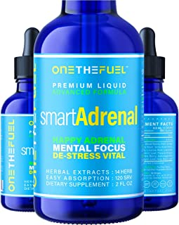 Smart Adrenal - BrainFatigue & Cortisol Balance Support + Focus Memory IQ Neuro Energy Supplement - Targeted All-Natural ...
