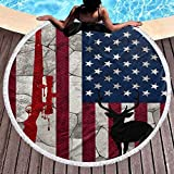 Hunting Deer Rifle Flag Tablecloth Tapestry Beach Towel Superfine Fiber Round Outdoor Beach Blanket Soft Absorbent for SPA, Pool, Gym and Bathroom