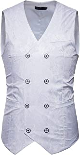 Yasminey Gilet da Uomo Paisley Jacquard Elegante Gilet Giovane da Sposa Doppio Petto Vest Slim Fit Blazer Gilet Blazer Gilet